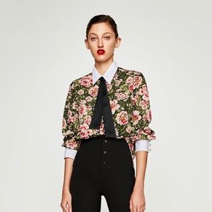 Zara Floral Top with Pearl Details Size XS